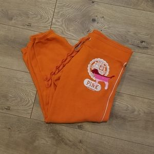 PINK by VS Cropped Sweatpants Orange & Pink {XS}